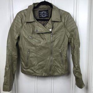 Shinestar olive green faux leather biker jacket